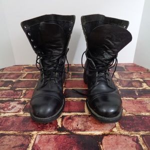 US Military Steel Toe Black Leather Boots Mens 11